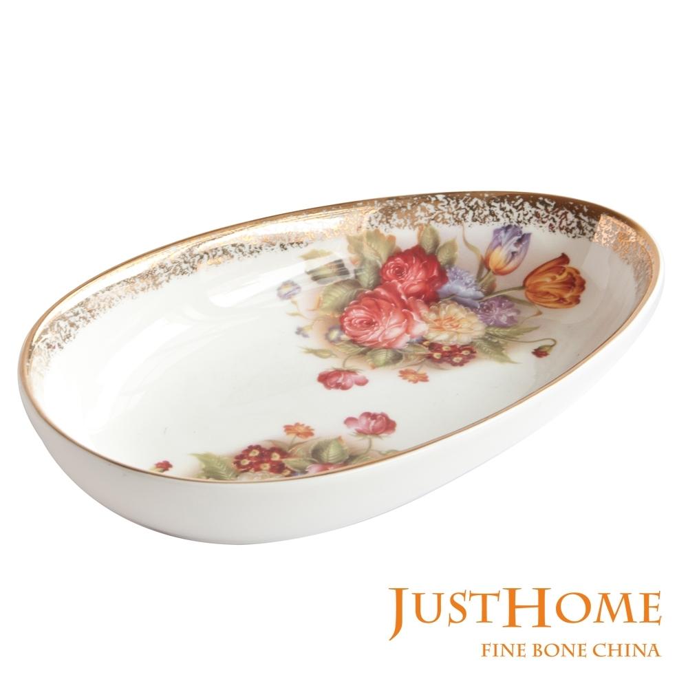 Just Home金色玫瑰高級骨瓷蛋形點心盤2入組