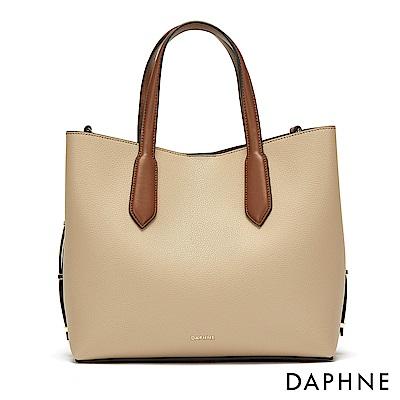 達芙妮DAPHNE-簡約撞色手提子母包-杏