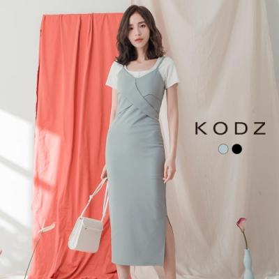 東京著衣-KODZ 性感女人交錯造型有襯式包臀洋裝-S.M.L(共二色)