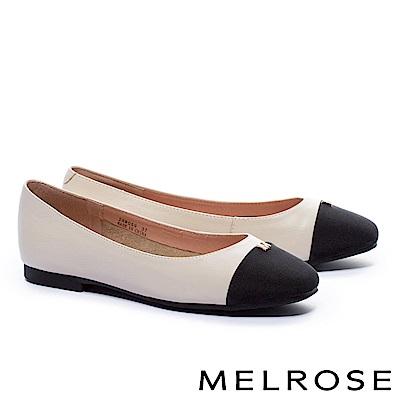 娃娃鞋 MELROSE 典雅氣質金屬M字釦牛皮平底娃娃鞋-米
