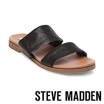 STEVE MADDEN-JUDY真皮寬版二字帶拖鞋-黑色