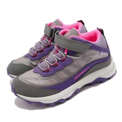 Merrell 戶外鞋 Moab Speed Waterproof 童鞋 防水 透氣 魔鬼氈 緩震 耐磨抓地 灰 紫 MK165209