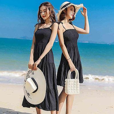 清新甜美海邊度假雪紡洋裝S-XL-維拉森林