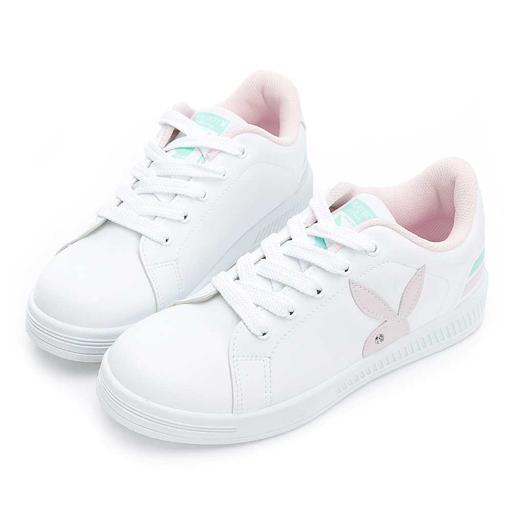PLAYBOY 條紋魅力 兔兔小白鞋-白粉-Y722019