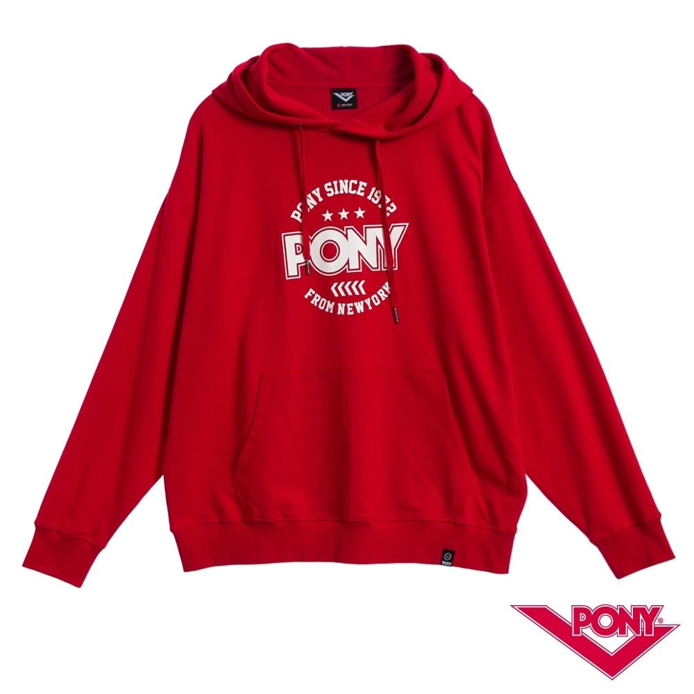 【PONY】長袖連帽大學T恤 情侶款 帽T T恤 男女款 紅