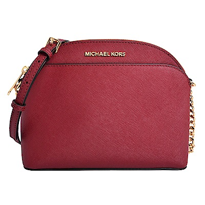 MICHAEL KORS EMMY金字LOGO素面防刮皮革前口袋斜背包-酒紅