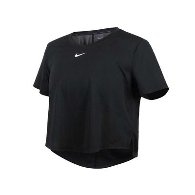 NIKE 女短版短袖T恤-DRI-FIT 運動 上衣 慢跑 路跑 DD4955-010 黑白
