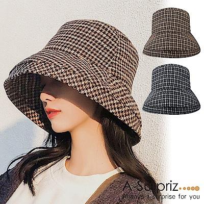 A-Surpriz 千鳥格紋混紡毛呢漁夫帽(2色選)
