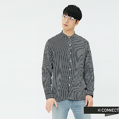 H:CONNECT 韓國品牌 男裝-直條紋圓領襯衫-深藍
