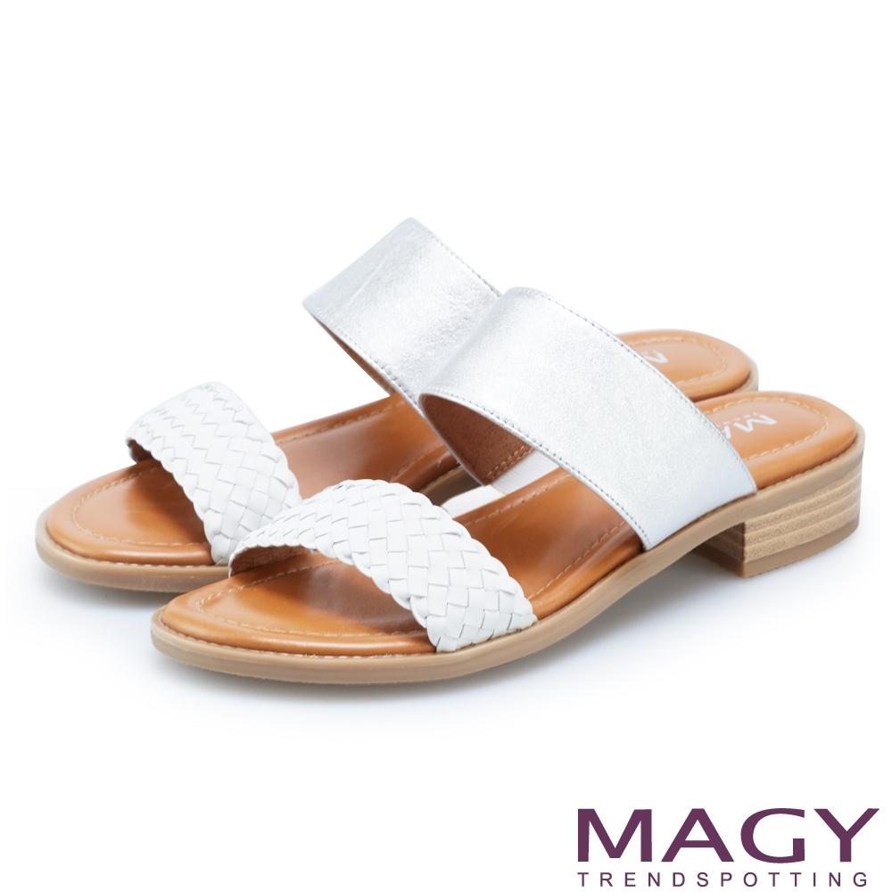 MAGY 樂活渡假 二字牛皮編織拼接羊皮拖鞋-白色
