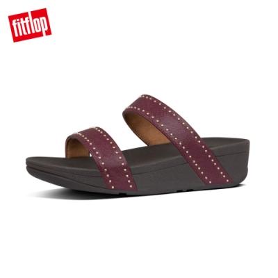 FitFlop LOTTIE MICROSTUD SLIDES精緻鉚釘設計雙帶涼鞋 紅