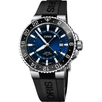 Oris 豪利時 Aquis GMT 雙時區潛水300米機械錶-藍x黑橡膠帶/43.5mm