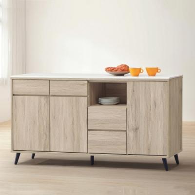 MUNA 寶雅橡木5.3尺石面餐櫃/碗碟櫃(155) 161X39X76cm