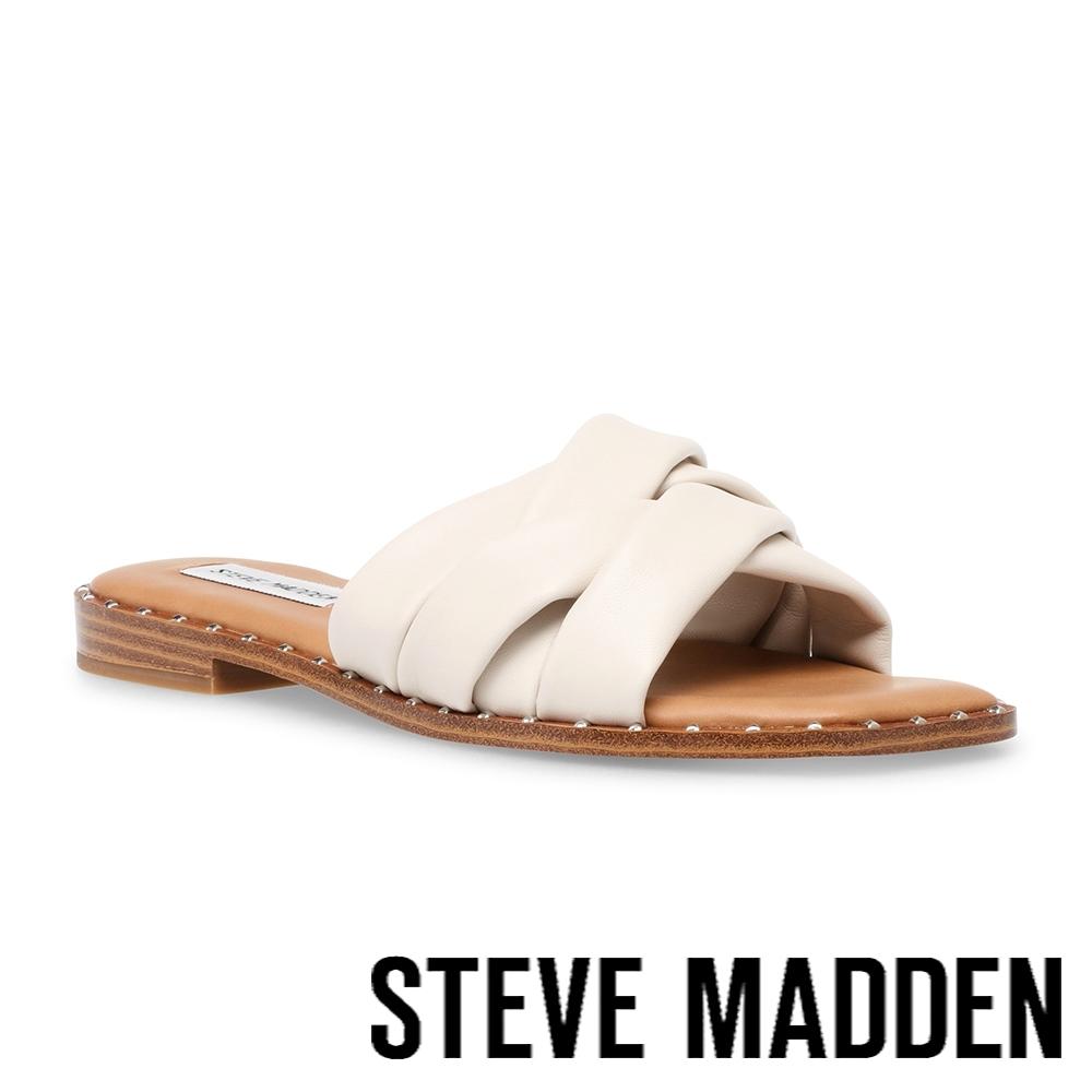 STEVE MADDEN-TERRON 舒適皮質交叉帶涼拖鞋-米杏色