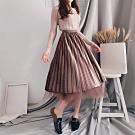 DoMiss金絲絨百摺兩面穿紗裙(4色)