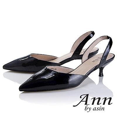 Ann by asin 俐落個性~素色漆皮質感真皮尖頭跟鞋(黑色)