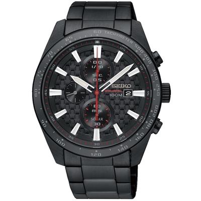 SEIKO精工  編織紋紳士太陽能三眼計時手錶(V176-0AW0SD/SSC657P1)