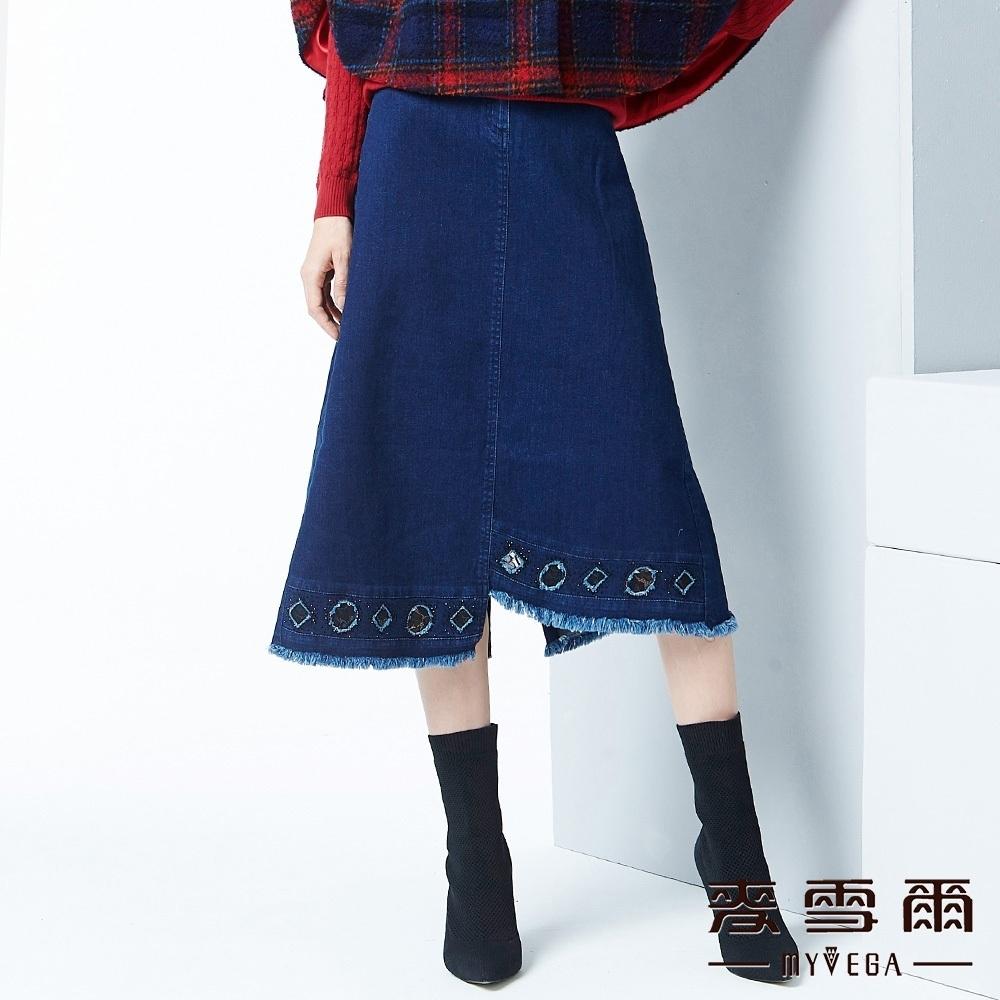 麥雪爾 純棉鏤空圖型不對稱牛仔長裙-藍