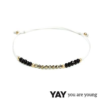 YAY You Are Young White Swan 能量黑曜石手鍊 寶石金X白色