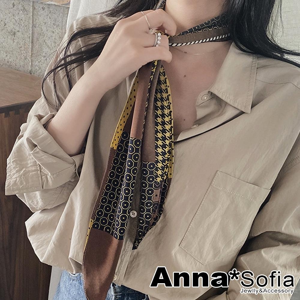 AnnaSofia 單面圖窄版厚雪紡 仿絲領巾絲巾圍巾(千鳥騰紋-咖黃黑系)