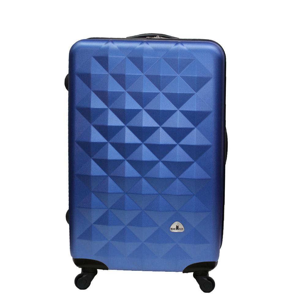 Bear Box 立體菱格晶鑽系列經典28吋 輕硬殼旅行箱行李箱-騎士藍