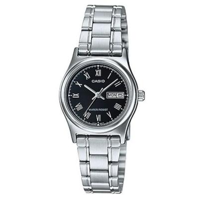 CASIO 時尚簡約日期顯示羅馬時刻不鏽鋼腕錶-黑(LTP-V006D-1B)/25mm