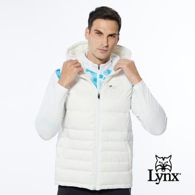 【Lynx Golf】男款保暖羽絨素面款脇邊羅紋設計無袖連帽背心-白色