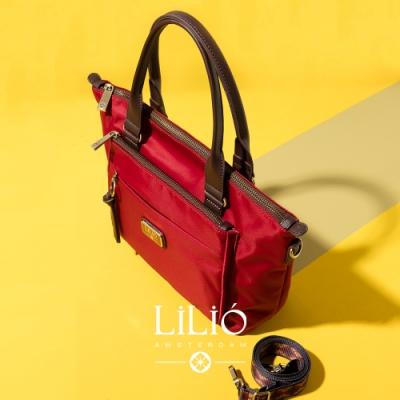 【LILIO】胭脂紅_拉鏈式手提托特包_簡約生活_SOLID