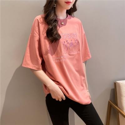 2F韓衣-簡約氣質素色刺繡造型上衣-3色-(M-2XL)