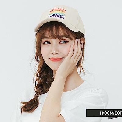 H:CONNECT 韓國品牌- 彩色繡字棒球帽-棕