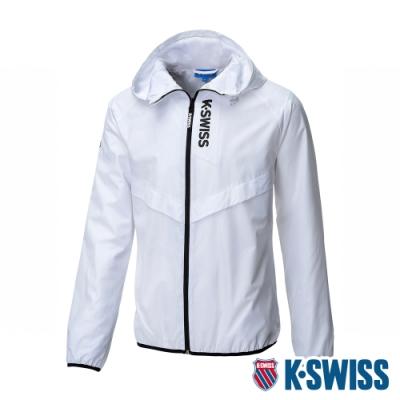 K-SWISS Solid Track Jacket抗UV風衣外套-男-白