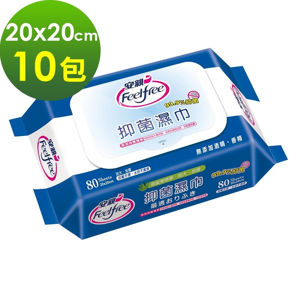 安親 加蓋抑菌濕巾 成人加大濕紙巾 (80抽x10包)