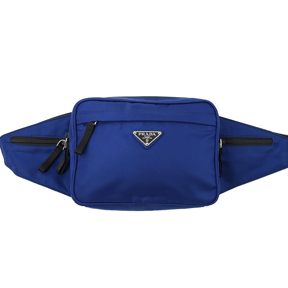 PRADA 三角LOGO多拉鍊袋尼龍材質腰包/胸口包(藍)