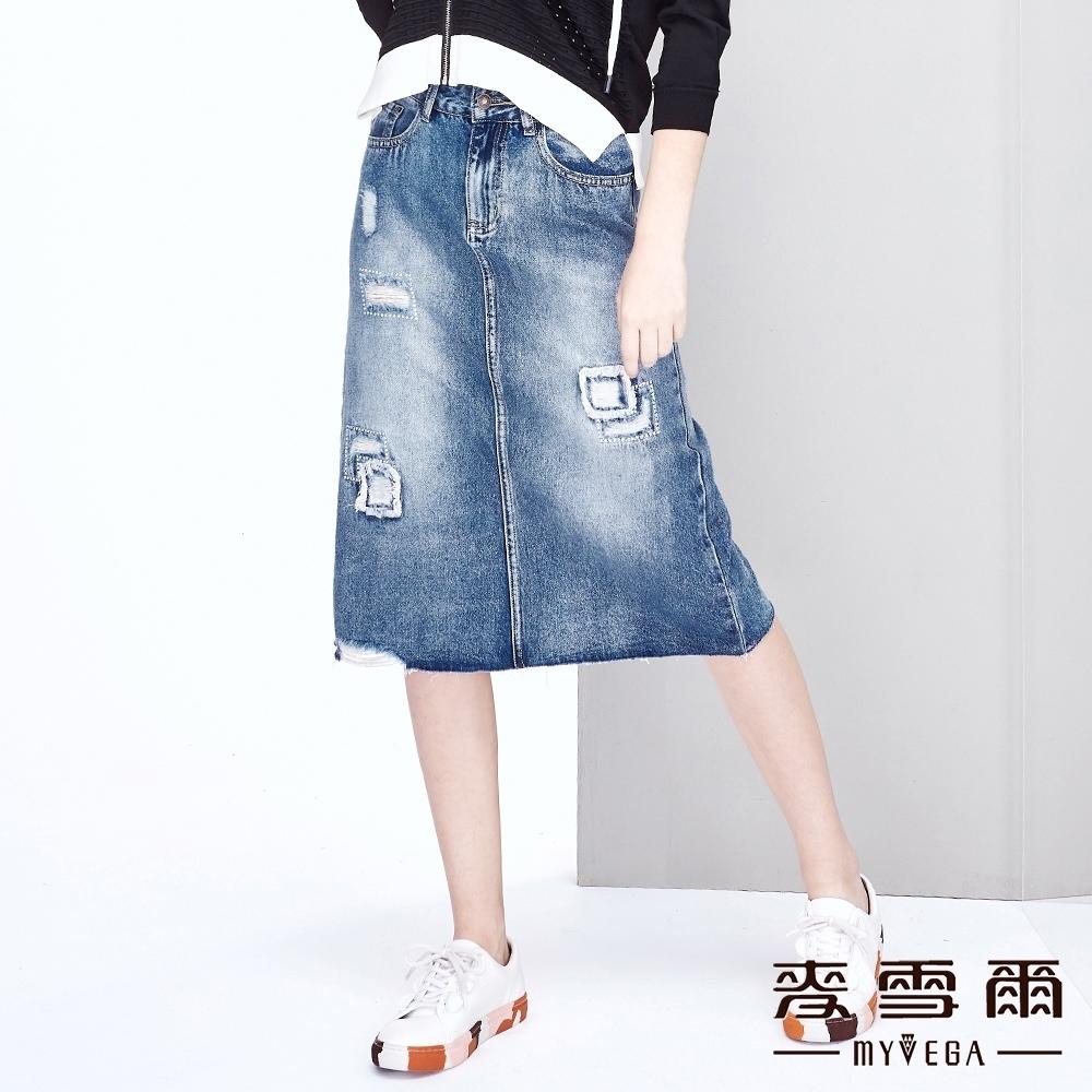 【麥雪爾】棉質水洗刷破水鑽八分牛仔裙