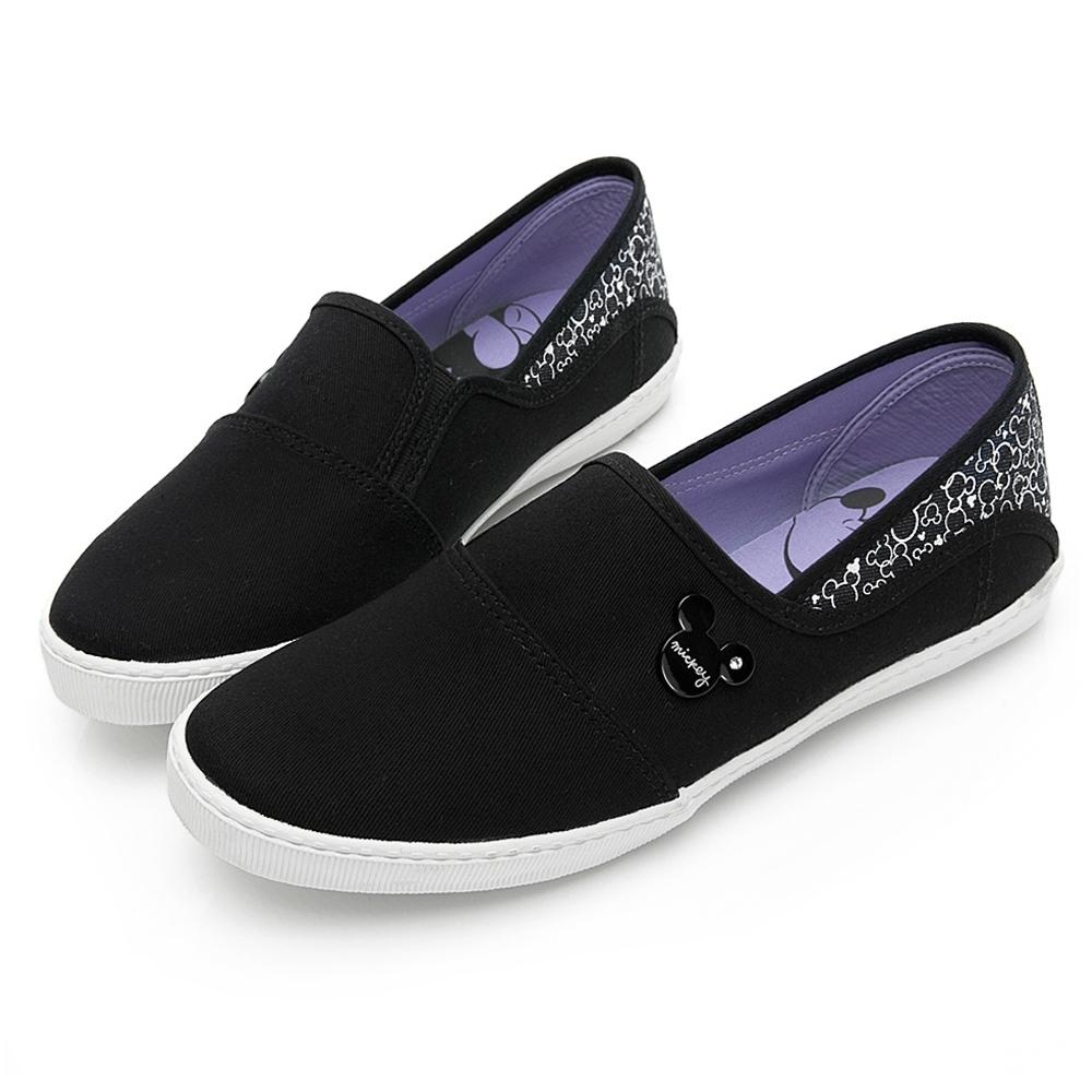 DISNEY 米奇後跟亮蔥拼接懶人鞋-黑-DW5609CC