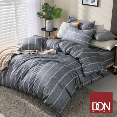 DON極簡日常 加大四件式200織精梳純棉被套床包組-線條-宇宙灰
