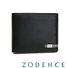 ZODENCE MAN格紋系列進口牛皮對稱11卡短夾 黑