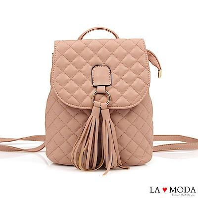 La Moda 熱銷單品小香風經典菱格紋2WAY大容量流蘇肩背後背包(粉)