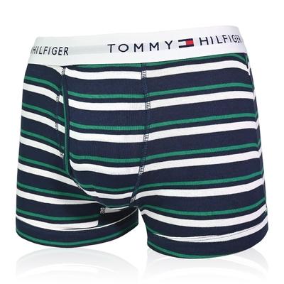 Tommy Hilfiger Cotton Stretch 男內褲 短版棉質高彈性合身平口褲/Tommy四角褲-黑綠白條紋