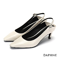 達芙妮DAPHNE 高跟鞋-繞踝繫帶後挖空拼接高跟鞋-米