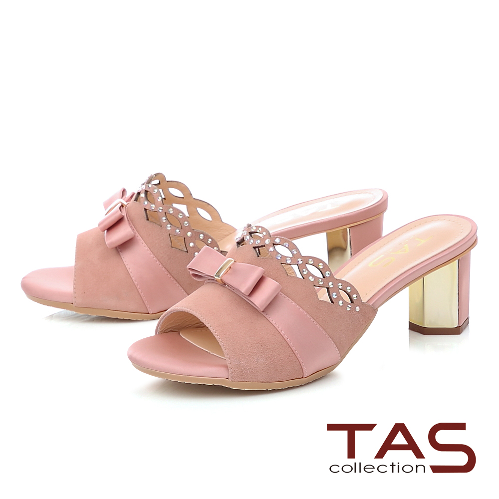 TAS蝴蝶結水鑽波浪拼接高跟涼拖鞋-甜美粉