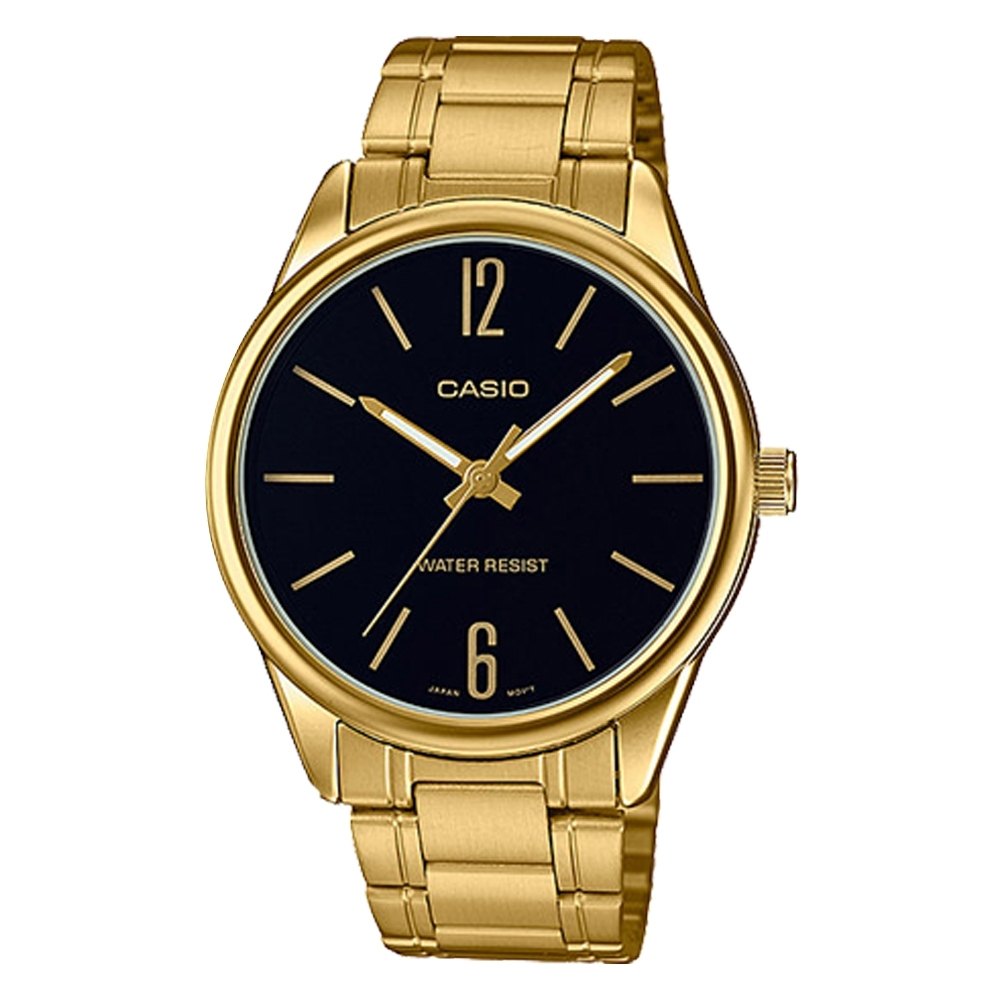 CASIO 高貴雅致金鍊不鏽鋼錶(MTP-V005G-1B)-黑/40mm
