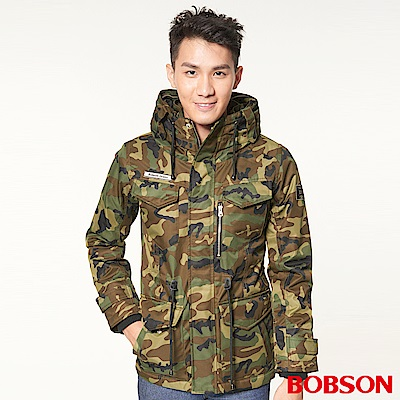 BOBSON 男款軍裝式迷彩長外套(迷彩42)
