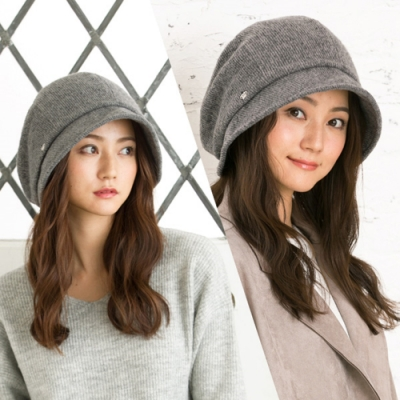QUEENHEAD日系保暖抗寒抗UV秋冬款小顏帽(灰色)