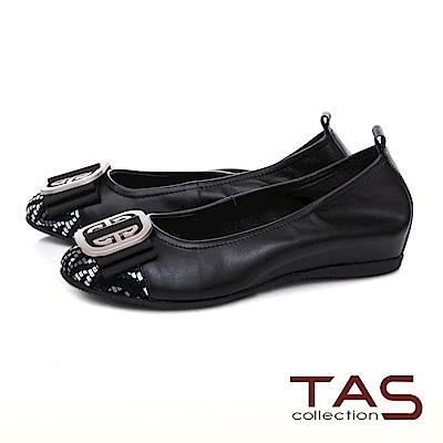 TAS圓飾蝴蝶結炫彩編織格紋娃娃鞋-人氣黑