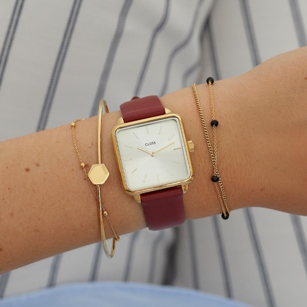 CLUSE La Tetragone 方框腕錶(金框/金錶面/玫瑰紅皮革錶帶)28.5mm