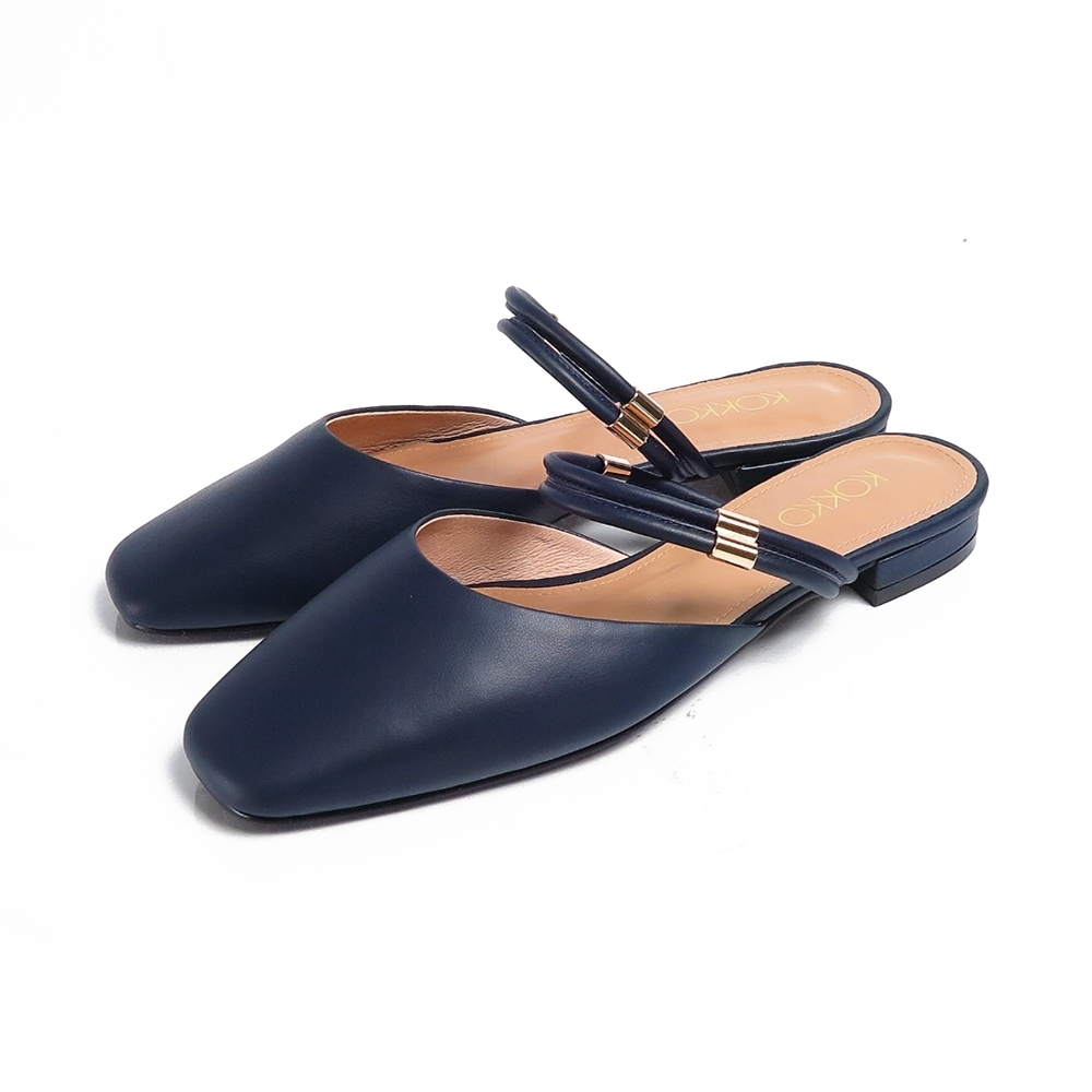 KOKKO不為誰盼望兩穿純色方頭穆勒鞋經典藍