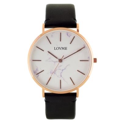 LOVME 大理石紋風格時尚手錶-IP玫x黑帶/41mm
