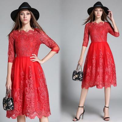 【KEITH-WILL】貴氣網紗刺繡花蕾絲修身洋裝