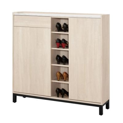 文創集 布拉森 時尚4尺二門單抽鞋櫃/玄關櫃-120x30x120cm免組
